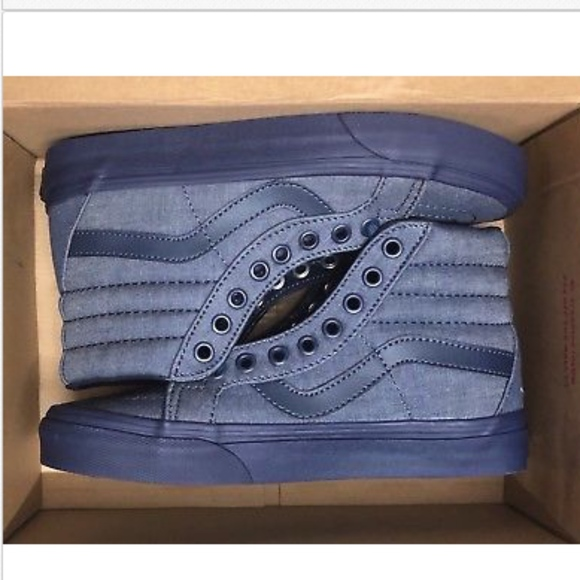 95c71fdfff Vans Sk8 Hi Reissue Mono Chambray Navy Navy Shoes